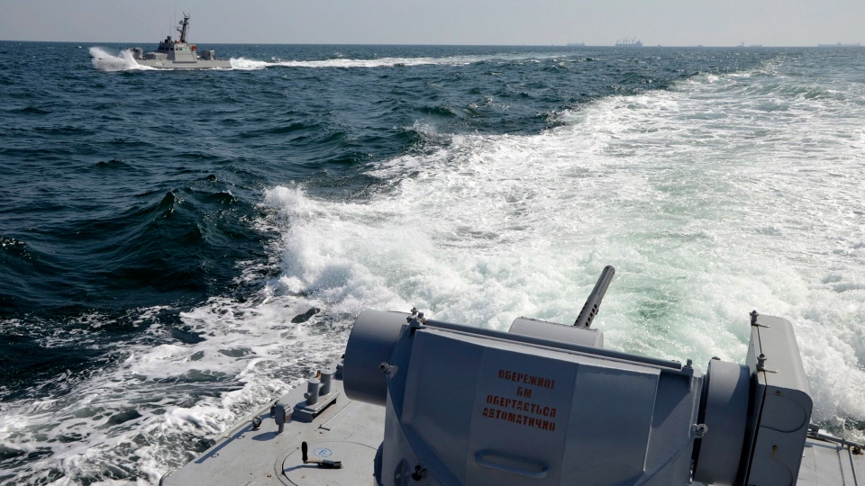In this file photo taken and distributed by Ukrainian Navy Press Service on Sunday, Nov. 25, 2018, two Ukrainian forces navy ships are seen near Crimea. (Ukrainian Navy Press Service via AP)