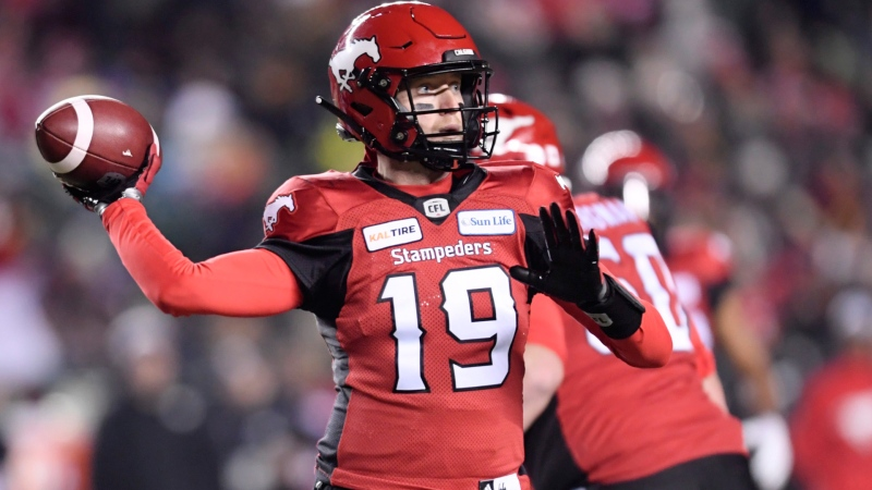 Calgary Stampeders quarterback Bo Levi Mitchell (19) throws the ball during the second half of the 106th Grey Cup against the Ottawa Redblacks at Commonwealth Stadium in Edmonton, Sunday, November 25, 2018. THE CANADIAN PRESS/Nathan Denette