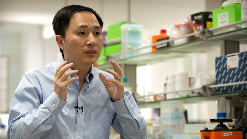 In this Oct. 10, 2018 photo, He Jiankui speaks during an interview at a laboratory in Shenzhen in southern China's Guangdong province. (AP Photo/Mark Schiefelbein)