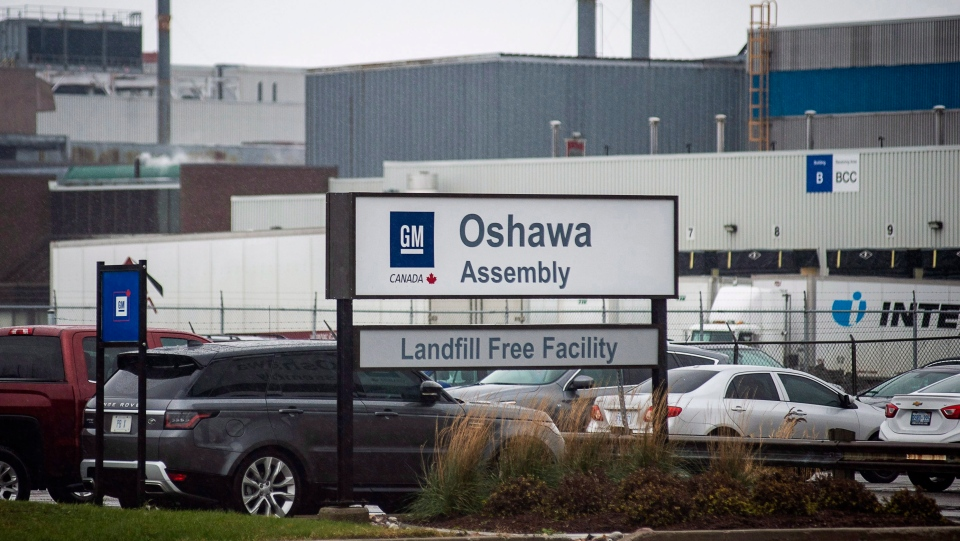 The Oshawa's General Motors car assembly plant in Oshawa, Ont., Monday, Nov. 26 , 2018. (THE CANADIAN PRESS/Eduardo Lima)