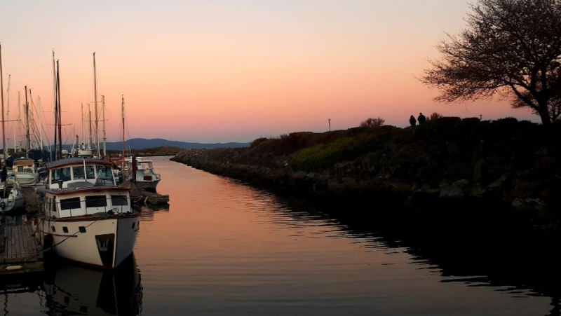 An orange glow is seen over the Oak Bay Marina. Nov. 23, 2018. (Margaret McCormack)