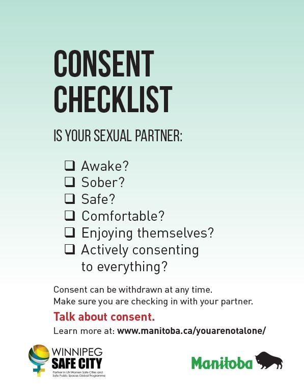One of the posters features a consent checklist, urging the reader to assess whether their sexual partner is awake, sober, safe, comfortable, enjoying themselves and actively consenting to what's going on. (Source: Government of Manitoba/Winnipeg Safe City)