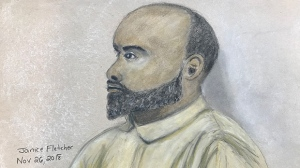 Court sketch of Edward Downey (Janice Fletcher)