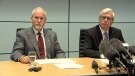 Sergeant-At-Arms Gary Lenz, left, and Clerk of the Legislature Craig James, right, speak to media in Vancouver. Nov. 26, 2018. (CTV Vancouver)