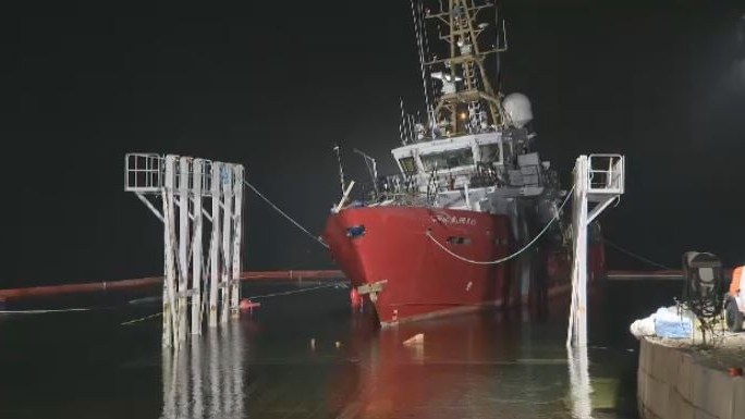 The CCGS Corporal McLaren is refloated on Nov. 26, 2018, after it was cut from its cradle at a shipyard in Sambro Head, N.S.