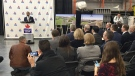 Maple Leaf Foods Announcement in London Ont, on November 27, 2018. (Daryl Newcombe / CTV London)