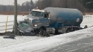 The aftermath of a crash between a propane truck and vehicle is seen in Norfolk County, Ont. on Tuesday, Nov. 27, 2018. (Source: OPP)