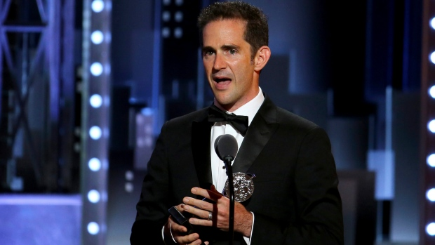"Andy Blankenbuehler accepts the award for best choreography for ""Bandstand"" at the 71st annual Tony Awards on Sunday, June 11, 2017, in New York. (Photo by Michael Zorn/Invision/AP)"