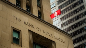 The Bank of Nova Scotia building is shown in the financial district in Toronto on August 22, 2017. THE CANADIAN PRESS/Nathan Denette