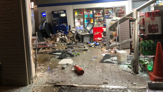 The aftermath of an attempted ATM theft