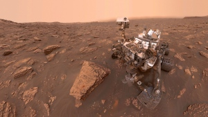 This composite image made from a series of June 15, 2018 photos shows a self-portrait of NASA's Curiosity Mars rover in the Gale Crater. (NASA/JPL-Caltech via AP)