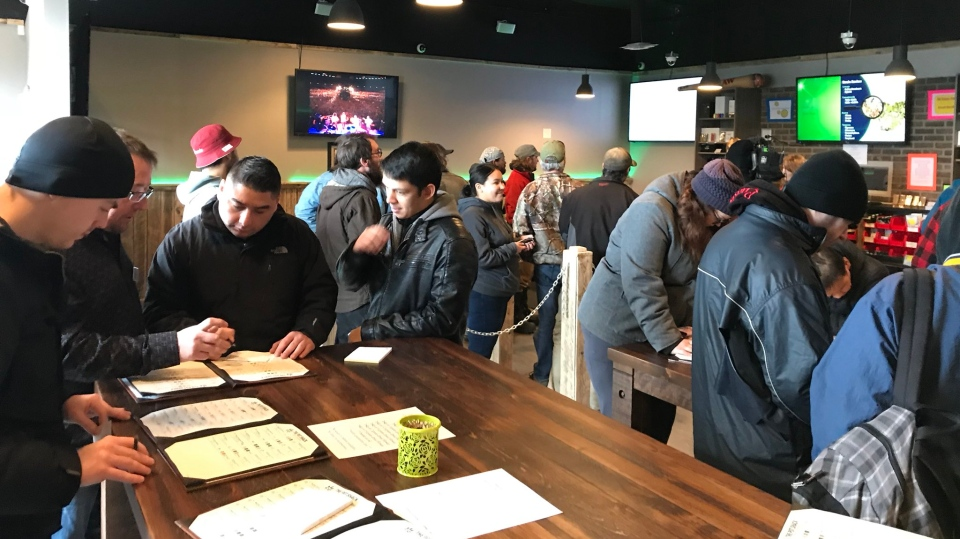 Dozens of people filled the Pot Shack, on Grosvenor Avenue, but the store will only allow one item per customer. (Stephanie Villella/CTV Saskatoon)