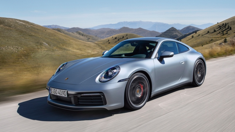 The undated photo provided by Porsche on Nov. 28, 2018 shows the new Porsche 911 Carrera 4S. Porsche unveiled the eighth generation of his emblematic sports car in Los Angeles. (Porsche via AP)