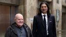 """James Sears, right, editor in chief of """"Your Ward News,"""" and publisher LeRoy St. Germaine, is seen outside Ontario court in Toronto on Wednesday, Nov. 28, 2018. Sears is charged with willfully promoting hatred of women and Jews. THE CANADIAN PRESS/Colin Perkel"""