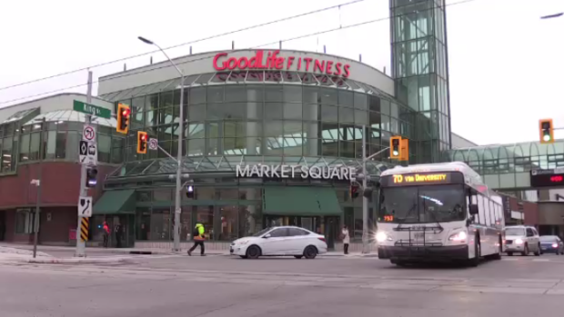 The Goodlife Fitness sign on Market Square