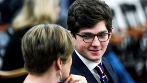Owen Labrie talks with lawyer Robin Melone as they wait for his appeal of ineffective counsel to begin on Wednesday, Nov. 28, 2018, in Concord, N.H. n(Elizabeth Frantz/The Concord Monitor via AP, Pool)