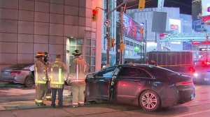 Police are investigating a two-car crash near the Eaton Centre.