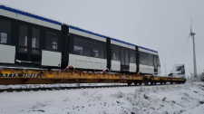 Bombardier train being delivered