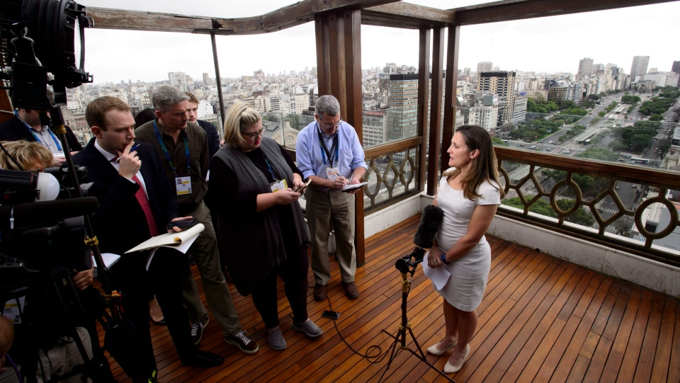 Minister of Foreign Affairs Chrystia Freeland speaks to media on the roof of the Panamericano Hotel in Buenos Aires, Argentina on Thursday, Nov. 29, 2018., to attend the G20 Summit. THE CANADIAN PRESS/Sean Kilpatrick