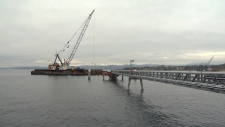 Piles earmarked to to extend Pier B at Ogden Point were lost at sea as they were barged to Victoria, the local harbour authority said. Jan. 10, 2019. (CTV Vancouver Island)