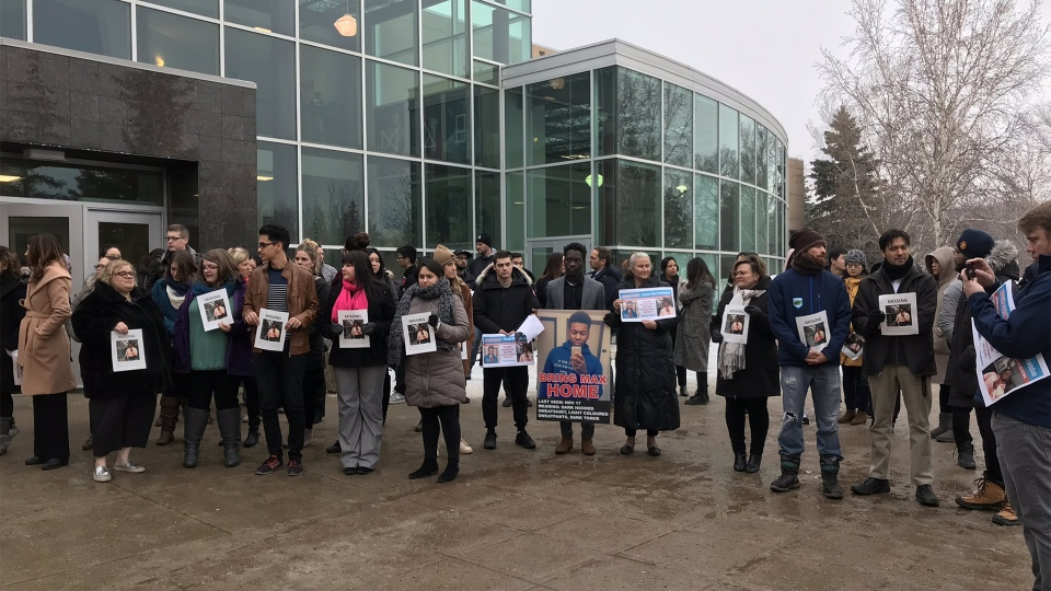 A rally at the University of Regina for Promise Chuckwudum on Nov. 29, 2018. (CALLY STEPHANOW/CTV REGINA)
