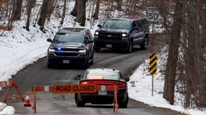 Niagara Regional Police, OPP and the SIU attend a scene near Roland Road and Sulphur Spring Drive in Pelham, Ont., where a Niagara Regional Police officer was shot by a fellow officer, Thursday, Nov. 29, 2018. THE CANADIAN PRESS/Aaron Lynett