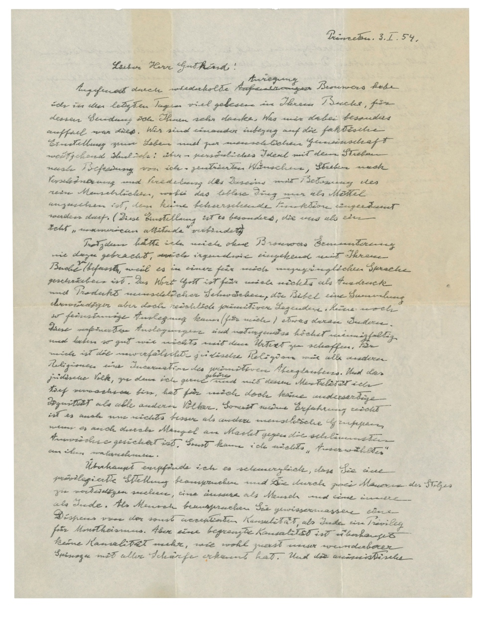 """This undated photo provided by Christie's shows the first page of Albert Einstein's """"God Letter,"""" dated January 3, 1954.in which he offers his candid and unvarnished opinion that: """"The word God is for me nothing but the expression and product of human weaknesses, the Bible a collection of venerable but still rather primitive legends."""" It is being auctioned by Christie's on Dec. 4, 2018. (Christie's via AP)"""