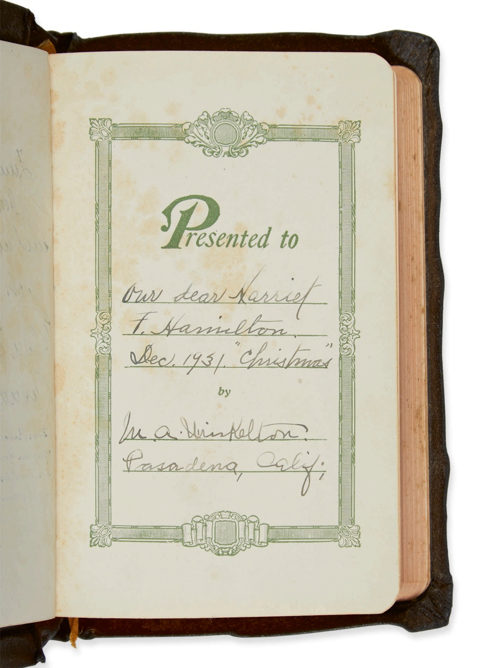 This undated photo provided by Sotheby's shows the inscription in a bible that was given as a gift to Harriet Hamilton by Albert Einstein and his wife, Elsa, in February of 1932. It is being auctioned by Sotheby's on Nov. 30, 2018. (Sotheby's via AP)