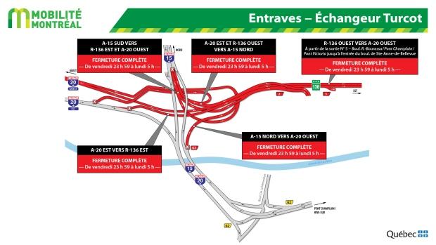 Highway closures Montreal