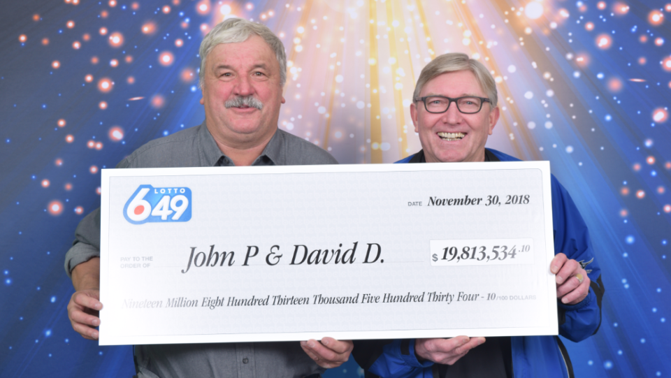 John Prpich and David Dubbin say they are in disbelief after matching all six numbers in this week's $19.8 million Lotto 6/49 jackpot. (BCLC)