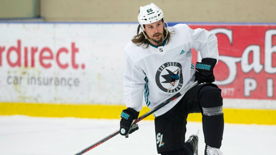 San Jose Sharks Erik Karlsson watches the teammates during practice Friday November 30, 2018 in Ottawa. THE CANADIAN PRESS/Adrian Wyld
