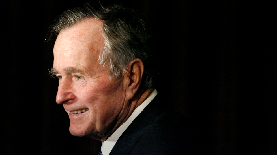 In this Feb. 6, 2007, file photo, former President George H.W. Bush arrives at the 2007 Ronald Reagan Freedom Award gala dinner held in his honor in Beverly Hills, Calif. (AP Photo/Matt Sayles, File)
