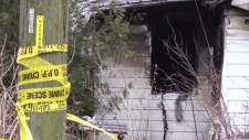 OPP crime scene tape, aftermath of a house fire