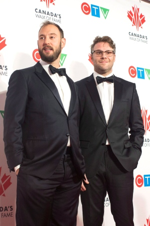 Seth Rogan, right, and Evan Goldberg are pictured during a press red carpet event as they are inducted into the 2018 Canada Walk of Fameon Saturday December 1, 2018.THE CANADIAN PRESS/Chris Young