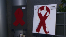 Red ribbons for AIDS awareness