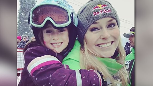 Lindsey Vonn and Sierra Coe have kept in touch ever since Sierra was four years old. Now, at 12, the young skier wants to be just like her idol. (Supplied)