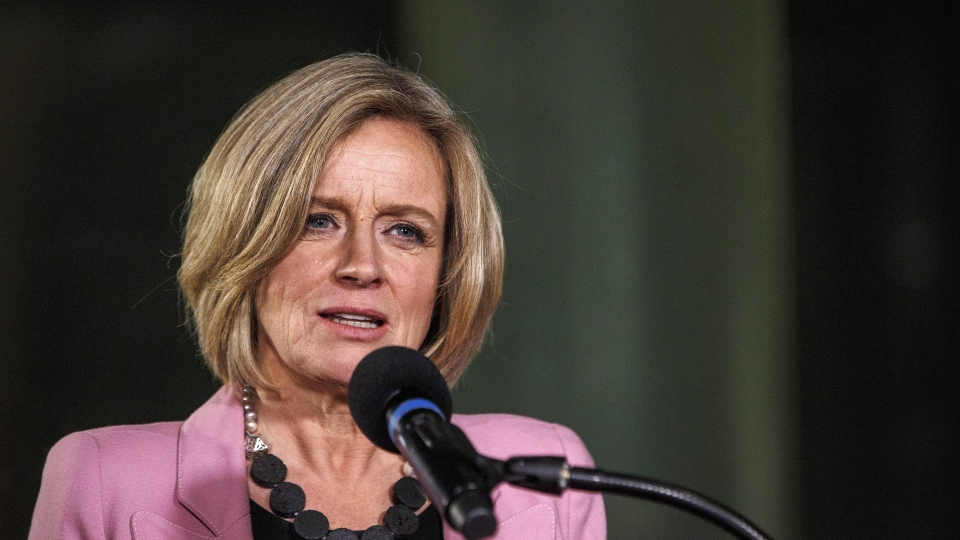 Alberta Premier Rachel Notley speaks during an announcement of a mandatory cut in oil production to deal with a price crisis that is costing Canada an estimated $80 million a day, in Edmonton on Sunday, Dec. 2, 2018. THE CANADIAN PRESS/Jason Franson