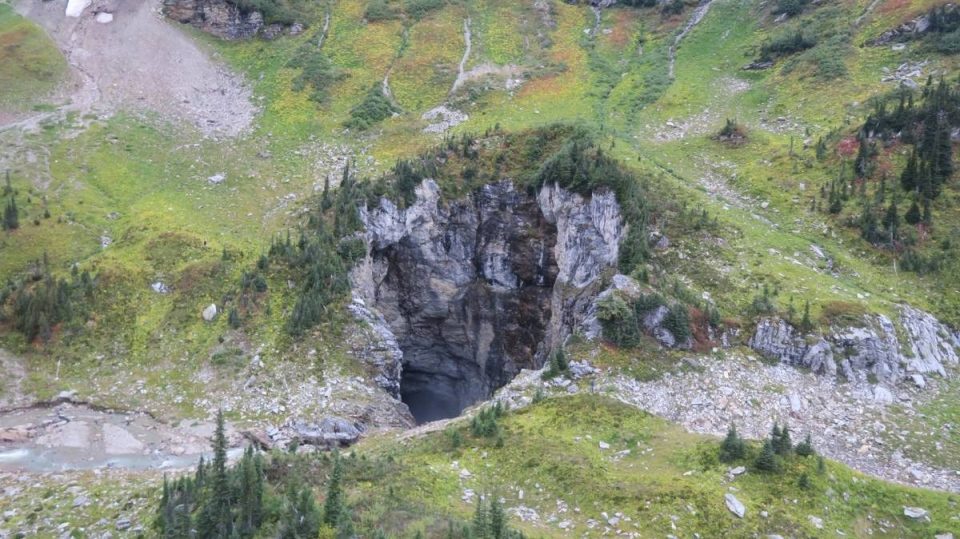 The entrance to the massive cave that was spotted earlier this year in British Columbia's Wells Gray Provincial Park. (Photo courtesy Catherine Hickson)