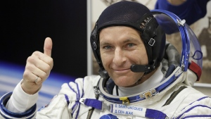 CSA astronaut David Saint Jacques prior to the launch of Soyuz MS-11 space ship at the Russian leased Baikonur cosmodrome, Kazakhstan, on Dec. 3, 2018. (Dmitri Lovetsky / AP)