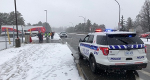 A small group of demonstrators block access to the Canada Post facility on Sandford Fleming Ave. Dec. 3, 2018 (Peter Szperling/CTV Ottawa)