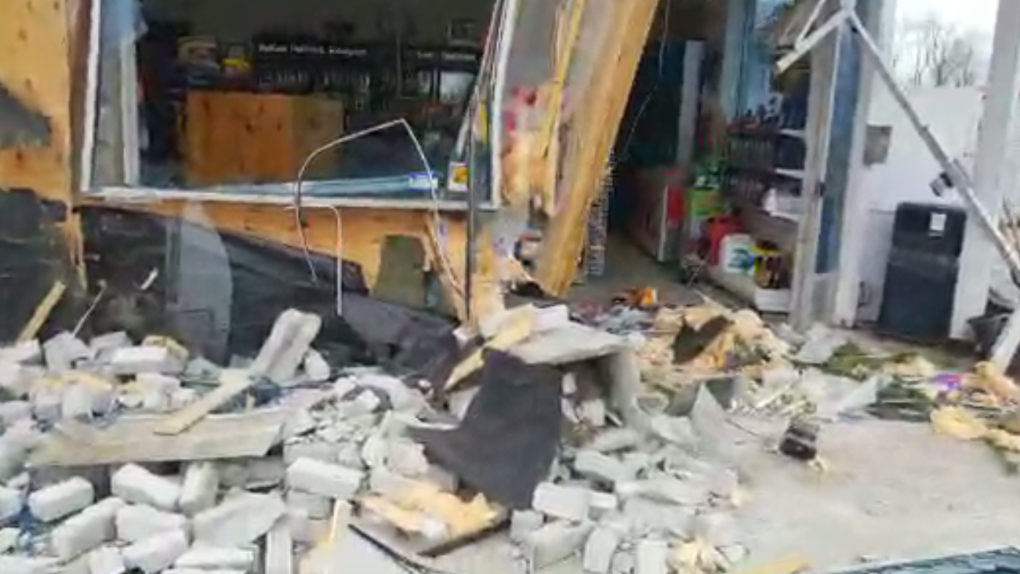 The front of a building destroyed in an ATM theft