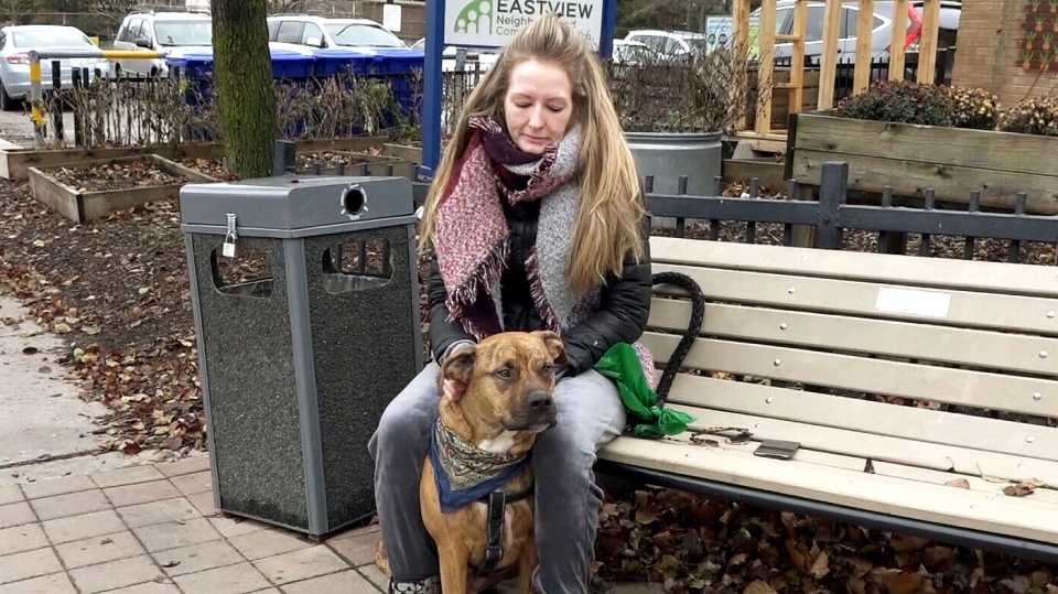 Jamie Aitchinson and her therapy dog Ottis on Monday Dec. 3, 2018. The pair were reunited just one day earlier by police, after the dog was stolen from outside a Leslieville shopping mall.