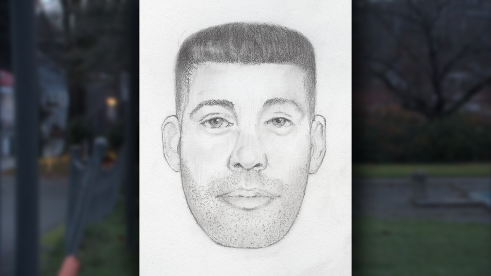 The suspect in the attack is described a white man in his late-20s or early-30s with dark brown eyes, an oval-shaped face and short, brown, wavy hair that's cut short on the sides. (Handout)