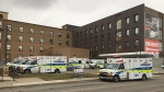 As many as 12 ambulances were seen outside the Cambridge Memorial Hospital on Monday.