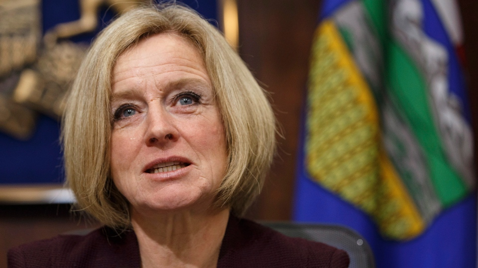 Alberta Premier Rachel Notley speaks to cabinet members about an 8.7 percent oil production cut to help deal with low prices, in Edmonton on Monday December 3, 2018. (THE CANADIAN PRESS/Jason Franson)