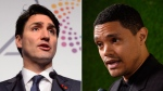 Prime Minister Justin Trudeau and comedian Trevor Noah are seen in this composite image. (AP/The Canadian Press)