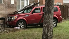 SUV hits apartment complex
