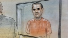 Alek Minassian is shown appearing in court via video link in this courthouse sketch from a previous appearance. (John Mantha)