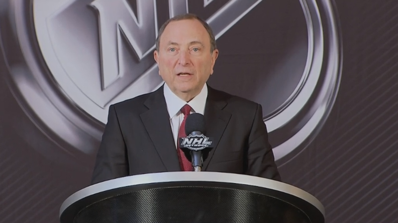 NHL Commissioner Gary Bettman announces the approval of Seattle's expansion application on Dec. 4, 2018.