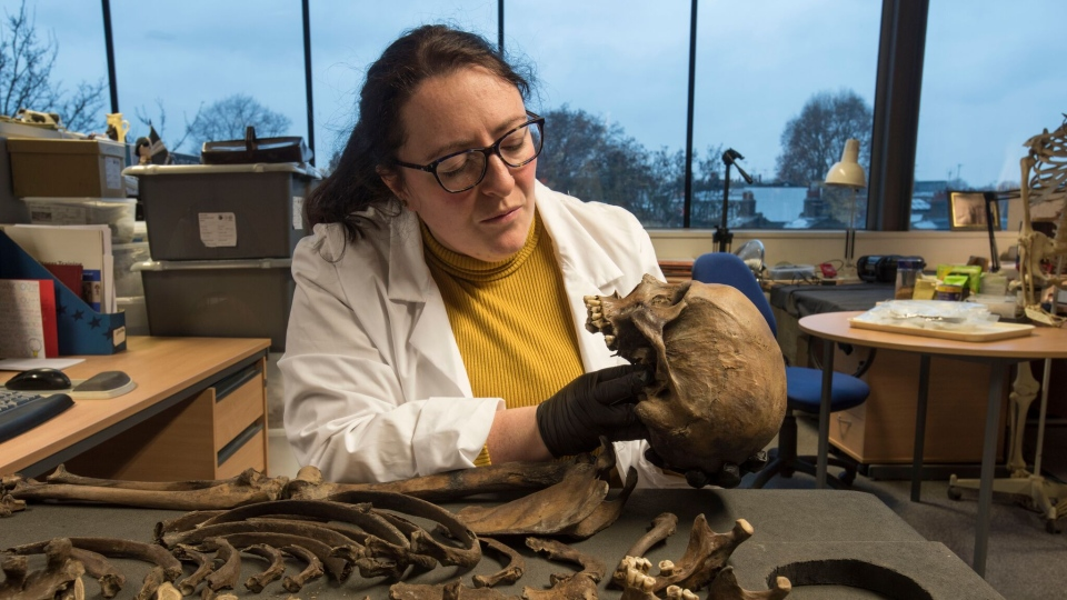Niamh Carty, a human osteologist at MOLA Headland, examines the skull of the skeleton. (MOLA Headland)